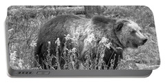 Grizzly In The Brush Black And White Portable Battery Charger