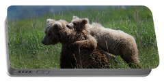 Grizzly  Mother And A Cub In Katmai National Park Portable Battery Charger