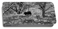 Grizzly Walking Through Dead Trees - Black And White Portable Battery Charger