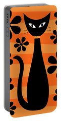 Groovy Flowers With Cat Orange And Light Orange Portable Battery Charger