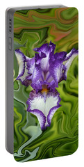 Portable Battery Charger featuring the photograph Groovy Purple Iris by Rebecca Margraf