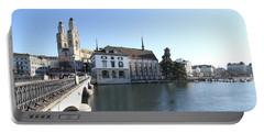 Grossmunster, Wasserkirche And Munsterbrucke - Zurich Portable Battery Charger