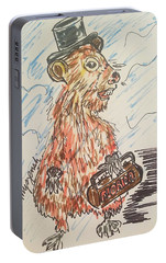 Groundhog Day Portable Battery Charger by Geraldine Myszenski