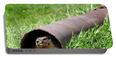 Groundhog In A Pipe Portable Battery Charger by Will Borden