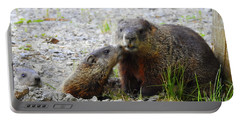 Portable Battery Charger featuring the photograph Groundhog Kiss by Betty-Anne McDonald