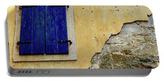 Groznjan Istrian Hill Town Stonework And Blue Shutters  - Istria, Croatia Portable Battery Charger
