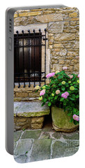 Groznjan Istrian Hill Town Stonework And Flowerpot - Istria, Croatia Portable Battery Charger