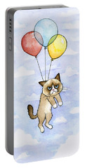 Grumpy Cat And Balloons Portable Battery Charger