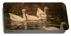 Portable Battery Charger featuring the digital art Grungy Chinese Geese by Bonnie Willis