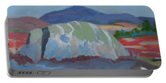 Portable Battery Charger featuring the painting Guardian Rock by Francine Frank