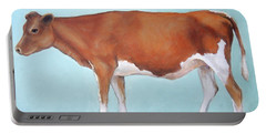 Guernsey Cow Standing Light Teal Background Portable Battery Charger