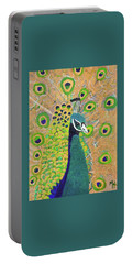 Portable Battery Charger featuring the painting Guilded Peacock by Margaret Harmon