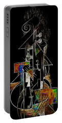 Guitar Abstract In Black Portable Battery Charger