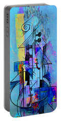 Guitar Abstract In Blue Portable Battery Charger