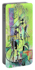 Guitar Abstract In Green Portable Battery Charger