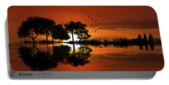 Guitar Landscape At Sunset Portable Battery Charger