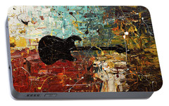 Portable Battery Charger featuring the painting Guitar Story by Carmen Guedez