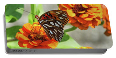 Gulf Fritillary And Zinnia Portable Battery Charger