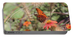 Gulf Fritillary On Zinnia Portable Battery Charger