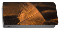 Gull Feather At Sunset Portable Battery Charger