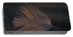 Gull Feather On A Beach Portable Battery Charger