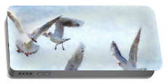 Gulls In Flight Watercolor Portable Battery Charger