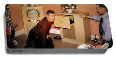 Guys With Their Television And Phonograph, 1950's Portable Battery Charger by Wernher Krutein
