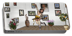 Portable Battery Charger featuring the mixed media Digital Exhibartition _  Dancing Girl  by Pemaro