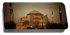 Hagia Sophia Istanbul Turkey Night Portable Battery Charger