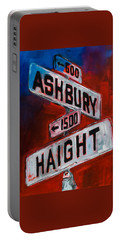 Portable Battery Charger featuring the painting Haight And Ashbury by Elise Palmigiani