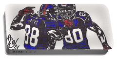 Portable Battery Charger featuring the drawing Hakeem Nicks And Victor Cruz by Jeremiah Colley
