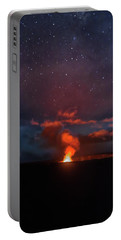 Portable Battery Charger featuring the photograph Halemaumau Crater At Night by Susan Rissi Tregoning