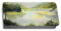 Half Moon Pond Portable Battery Charger by Judith Levins