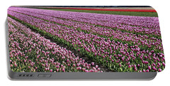 Half Side Purple Tulip Field Portable Battery Charger by Mihaela Pater