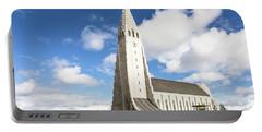 Hallgrimskirkja Church In Reykjavik Portable Battery Charger