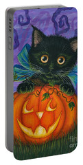 Portable Battery Charger featuring the painting Halloween Black Kitty - Cat And Jackolantern by Carrie Hawks