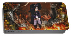 Halloween Girl Portable Battery Charger by Mo T