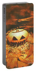 Halloween In Fall. Still Life Pumpkin Head Portable Battery Charger