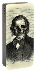 Halloween Skull Portrait In Black And White Portable Battery Charger