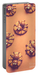 Halloween Spider Cookies On Brown Background Portable Battery Charger