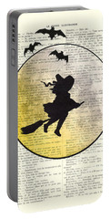 Witch Flying With Full Moon Portable Battery Charger