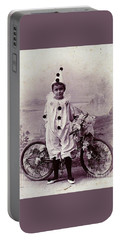Portable Battery Charger featuring the photograph Halloween Pierrot Boy With Antique Bicycle Circa 1890 by Peter Gumaer Ogden