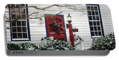 Hallsborough Tavern Back Door Decorated For The Holidays Portable Battery Charger