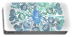 Portable Battery Charger featuring the mixed media Hamsa Mandala 1- Art By Linda Woods by Linda Woods