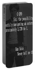 Portable Battery Charger featuring the mixed media Han Solo Never Tell Me The Odds by Dan Sproul