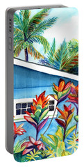 Portable Battery Charger featuring the painting Hanalei Cottage by Marionette Taboniar