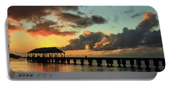 Hanalei Pier Sunset Panorama Portable Battery Charger