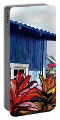 Portable Battery Charger featuring the painting Hanapepe Town by Marionette Taboniar