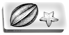 Hand Drawn Of Carambola Fruit On White Background Portable Battery Charger