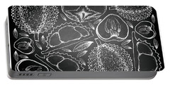 Hand Drawn Of Durian And Persimmon On Chalkboard Background Portable Battery Charger